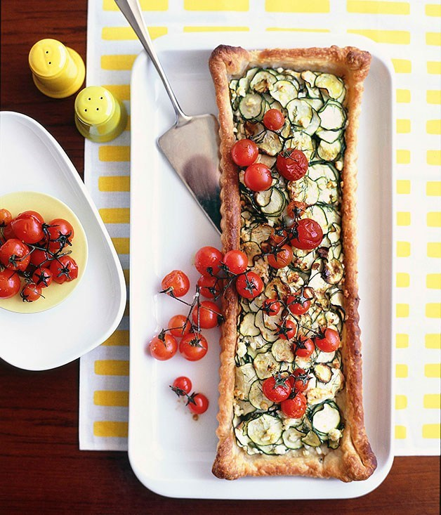 **Zucchini and feta tart with roasted cherry tomatoes**
