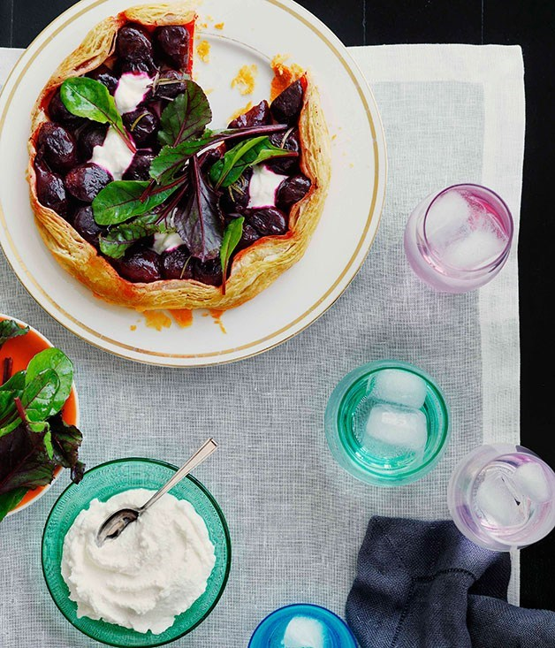 **Roast baby beetroot, goat's curd and rosemary tart**