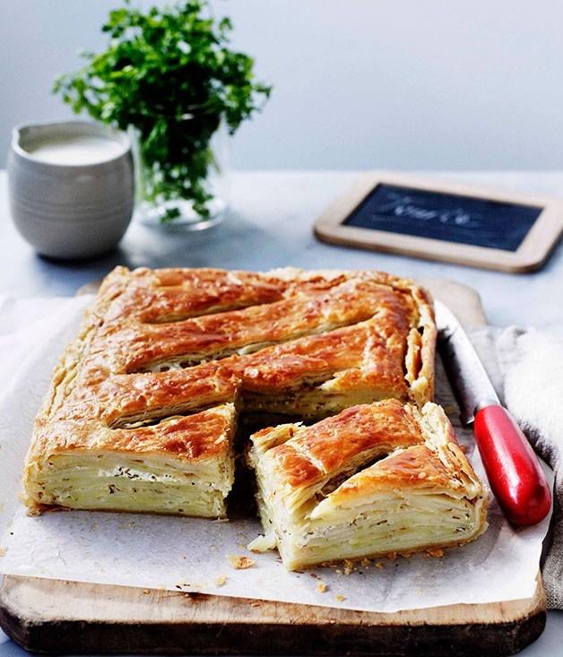 **Herbed potato and crème fraîche tourte**