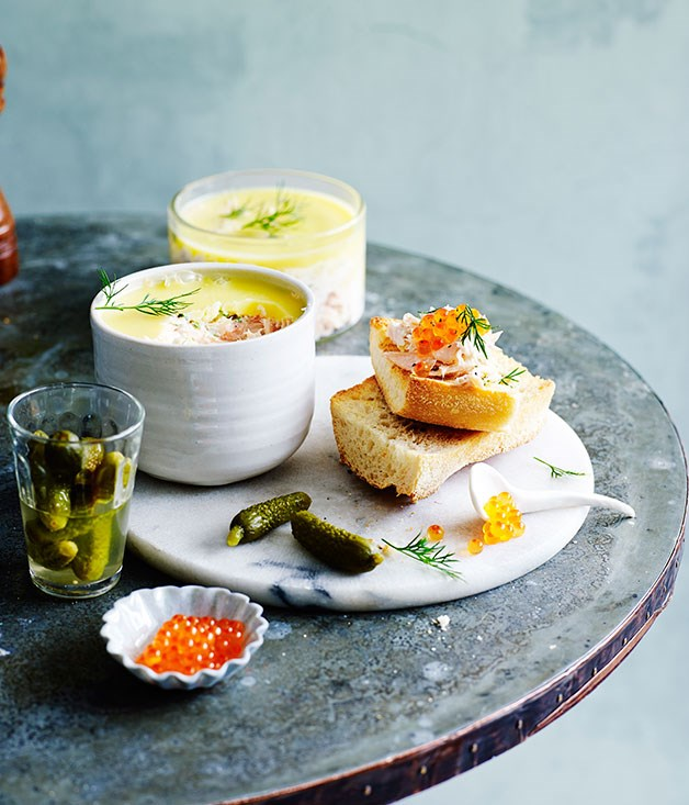 Potted trout with toasted baguette