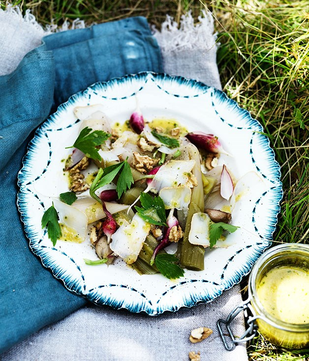 Poached leek, radish, walnut and goat's cheese salad