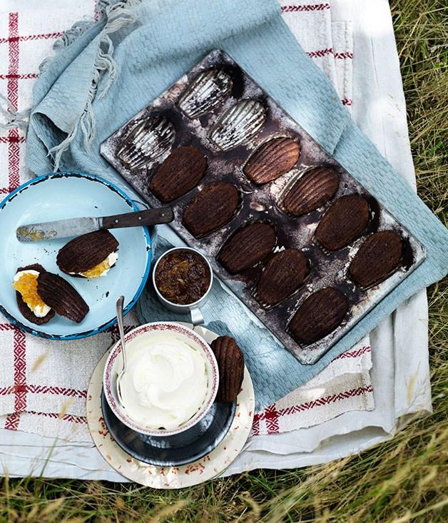 Chocolate madeleines with mascarpone and marmalade