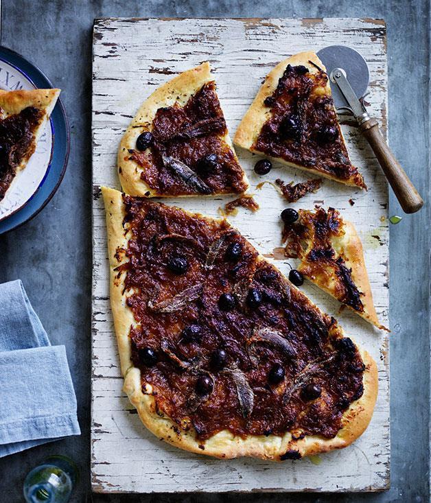 "**[Pissaladière](https://www.gourmettraveller.com.au/recipes/browse-all/pissaladiere-12080|target=""_blank"")**"