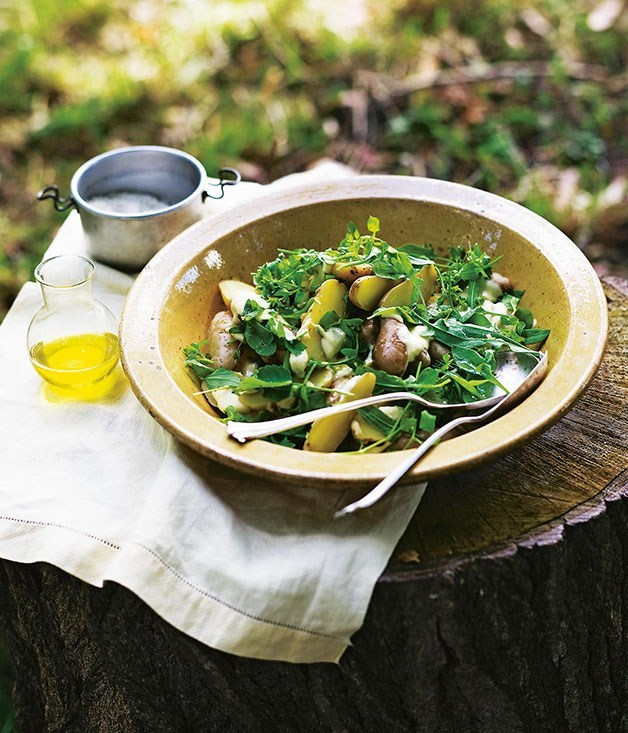 Potato and wild green salad with anchovy dressing