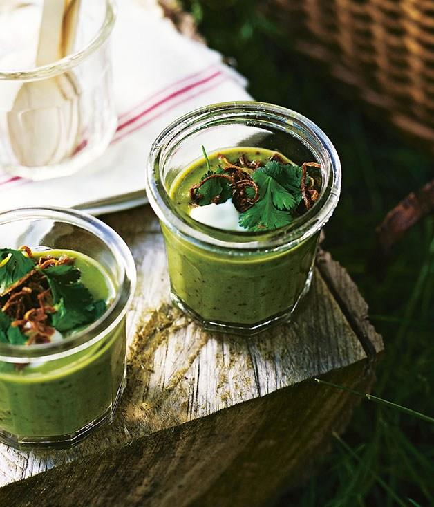 **Chilled pea and coriander soup**