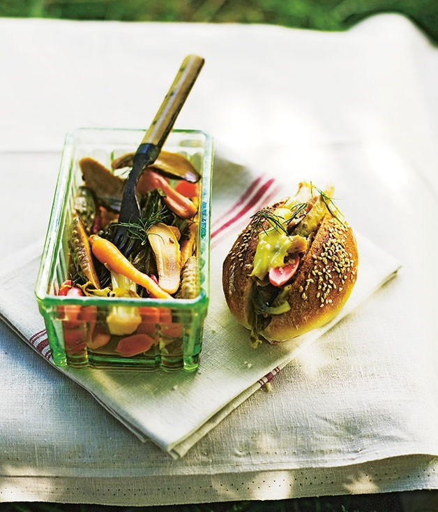 **Confit rabbit and pickled vegetable sandwiches**