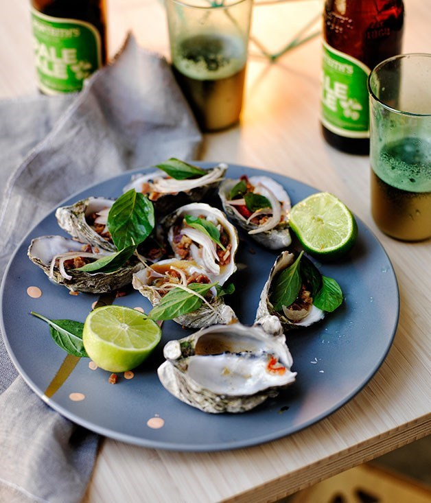 **Barbecued oysters with bacon chilli tamarind sauce**