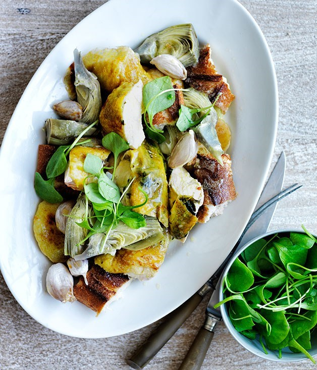 **Roast chicken and potatoes with baguette, artichokes, sage and lemon**