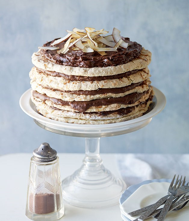 "[**Choc-coconut macaroon cake**](https://www.gourmettraveller.com.au/recipes/browse-all/choc-coconut-macaroon-cake-11937|target=""_blank"")"