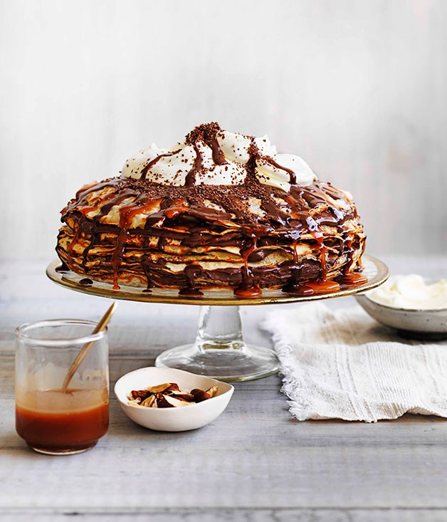 "[**Chocolate caramel crepe cake**](https://www.gourmettraveller.com.au/recipes/browse-all/chocolate-caramel-crepe-cake-13945|target=""_blank"")"