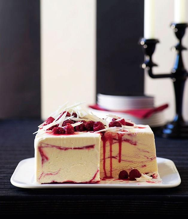 "[**White chocolate and raspberry ripple ice-cream cake**](https://www.gourmettraveller.com.au/recipes/browse-all/white-chocolate-and-raspberry-ripple-ice-cream-cake-9953|target=""_blank"")"