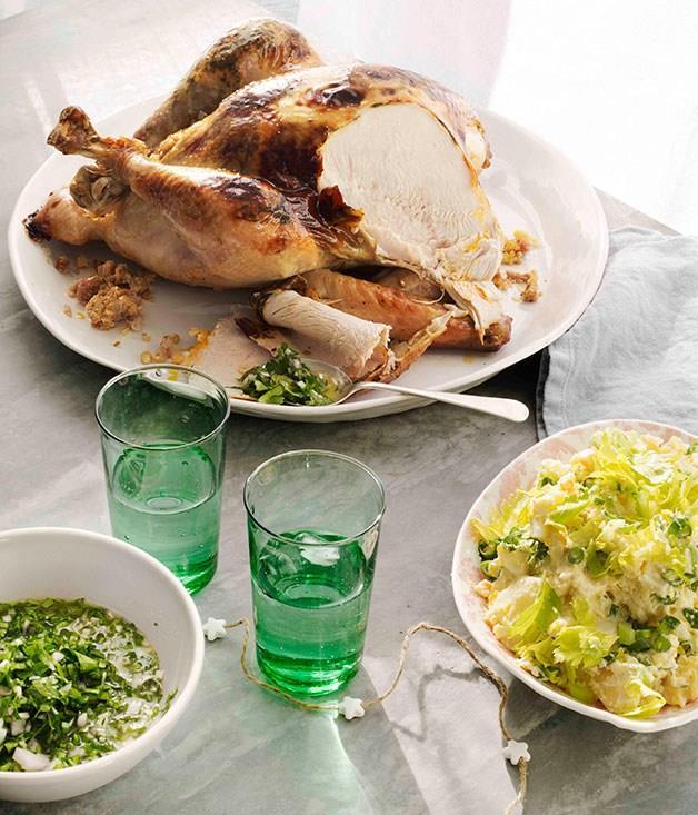 **Turkey with cornbread stuffing and potato salad**