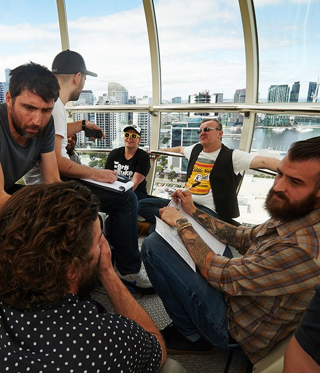 "**** [Le Chateaubriand](http://www.lechateaubriand.net/ ""Le Chateaubriand"")'s Iñaki Aizpitarte and team planning their WAW Gives dish in the Melbourne Star Observation Wheel.  Photography: Colin Page"