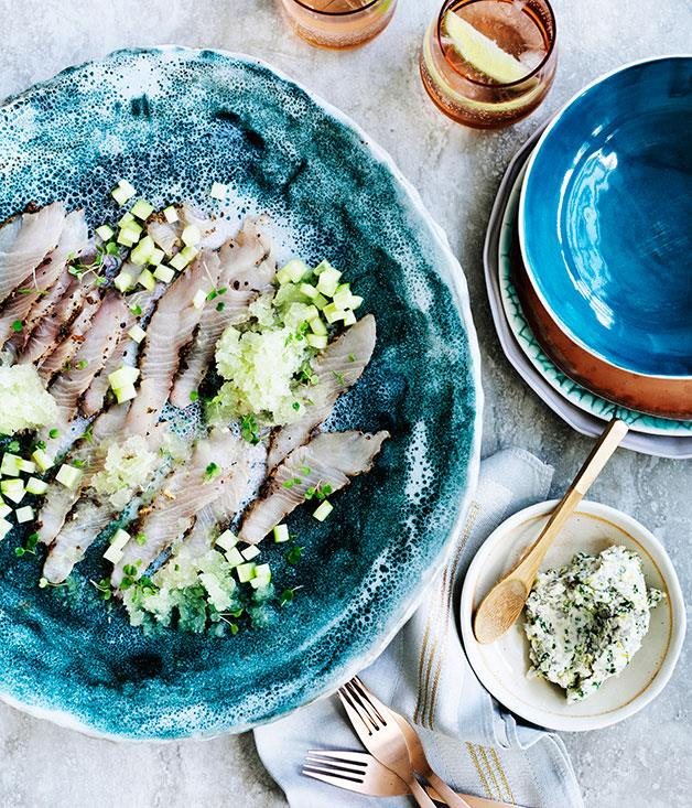 "**[Cured kingfish with cucumber and gin and tonic granita](https://www.gourmettraveller.com.au/recipes/chefs-recipes/cured-kingfish-with-cucumber-and-gin-and-tonic-granita-9193|target=""_blank"")**"