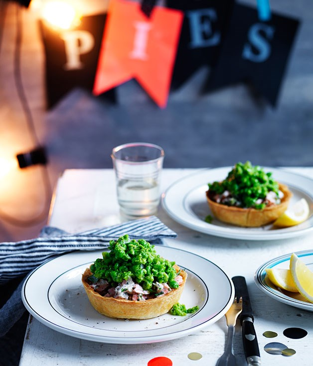 Smoked trout and fennel pies with peas