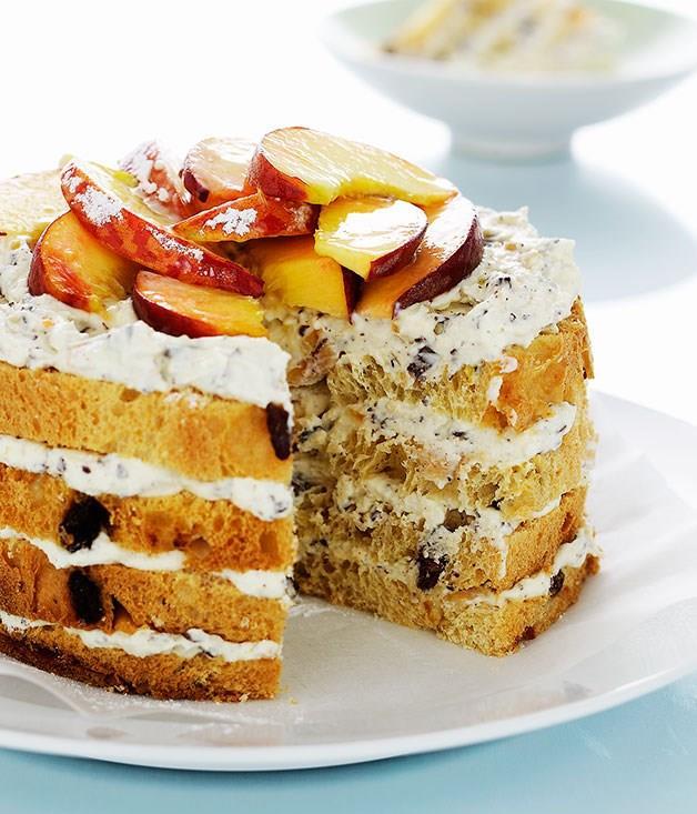 "[**Panettone, ricotta and peach cake**](https://www.gourmettraveller.com.au/recipes/fast-recipes/panettone-ricotta-and-peach-cake-9401 target=""_blank"")"