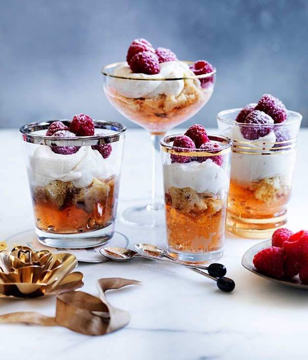 """[**Moscato, raspberry and panettone trifles**](https://www.gourmettraveller.com.au/recipes/browse-all/moscato-raspberry-and-panettone-trifles-11841