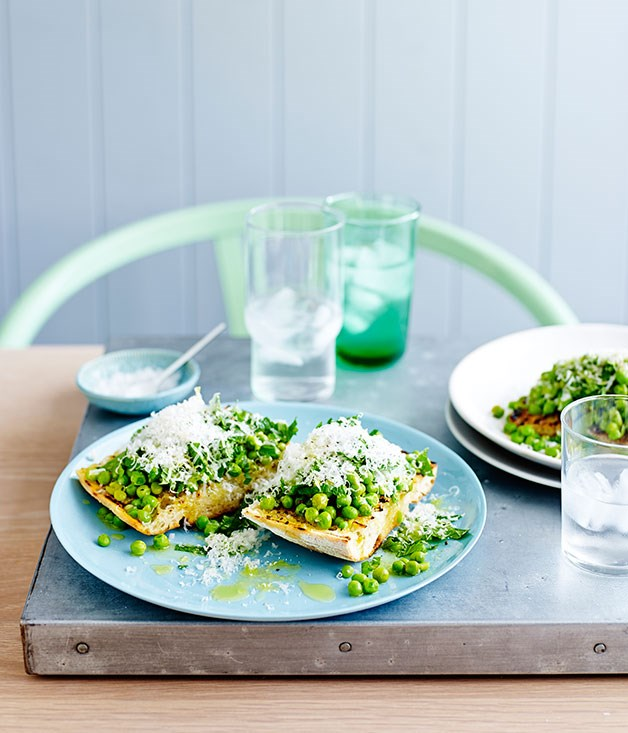 Smashed peas with mint, lemon and pecorino on bruschetta