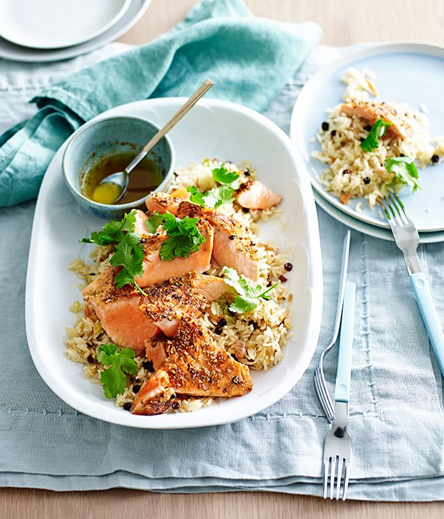 Ocean trout with lemon-cardamom rice