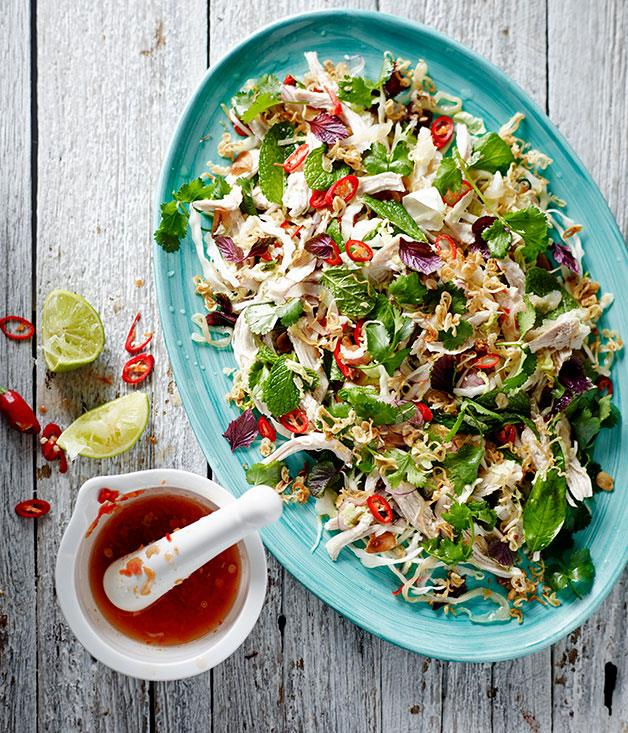 "**[Chicken and jellyfish salad](https://www.gourmettraveller.com.au/recipes/chefs-recipes/chicken-and-jellyfish-salad-8158|target=""_blank"")**"