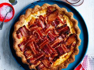 Bacon and tomato polenta-crust pie