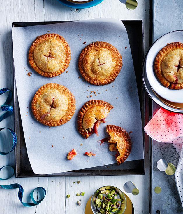 "**[Sugar-crusted rhubarb hand pies](https://www.gourmettraveller.com.au/recipes/browse-all/sugar-crusted-rhubarb-hand-pies-12103|target=""_blank"")**"