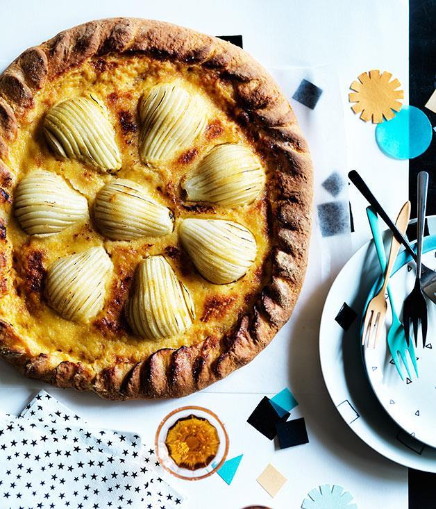 "**[Pear brioche tart with maple custard cream](https://www.gourmettraveller.com.au/recipes/browse-all/pear-brioche-tart-with-maple-custard-cream-12106|target=""_blank"")**"