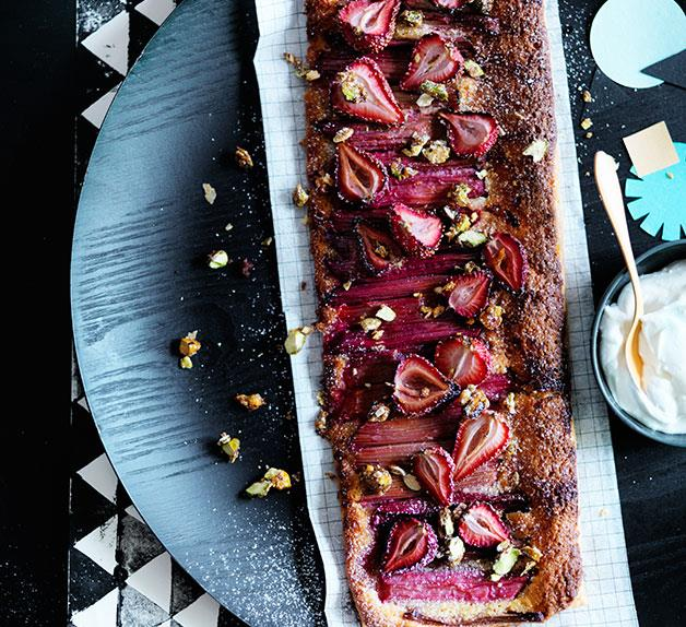 Rhubarb and strawberry tart with candied pistachio and fennel seeds