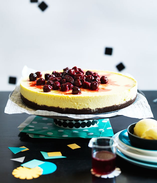 Cherry cheesecake with cherry-pit ice-cream