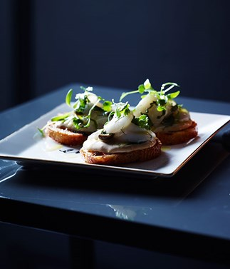 Scallop tartare and sea urchin toasts
