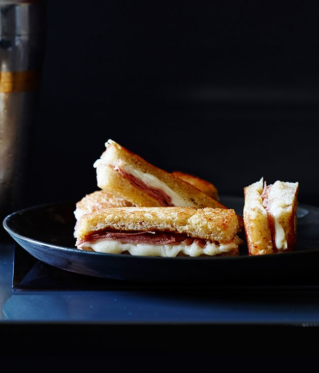 Fried mortadella sandwiches