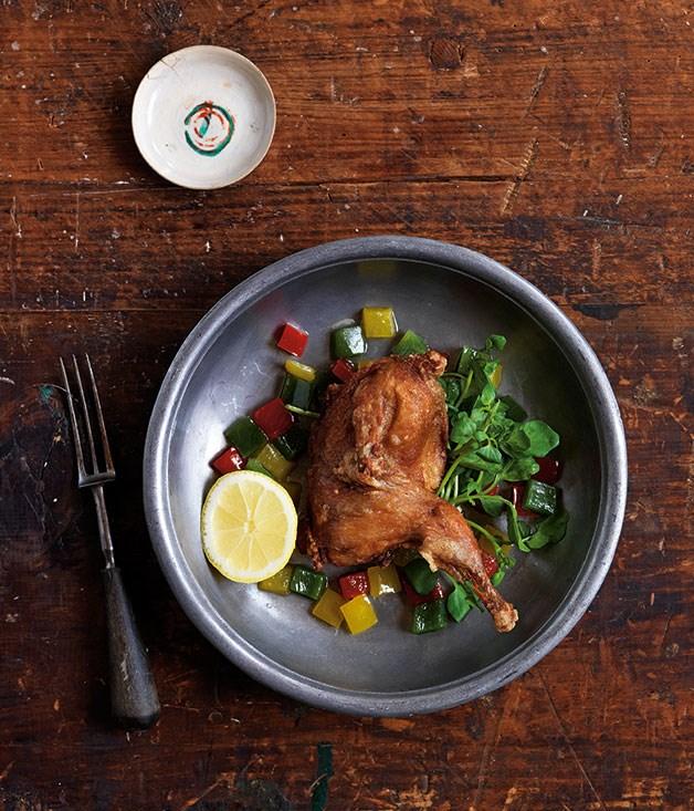 "[Dan Hong's Mum's crisp quail](http://www.gourmettraveller.com.au/recipes/chefs-recipes/mums-crisp-quail-8161 target=""_blank"")"