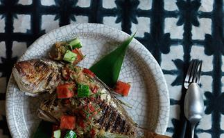 Grilled fish with sambal matah, watermelon and cucumber