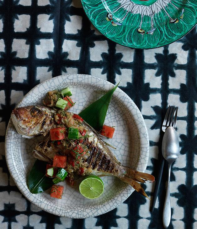 """**[Grilled fish with sambal matah, watermelon and cucumber](https://www.gourmettraveller.com.au/recipes/chefs-recipes/grilled-fish-with-sambal-matah-watermelon-and-cucumber-8162