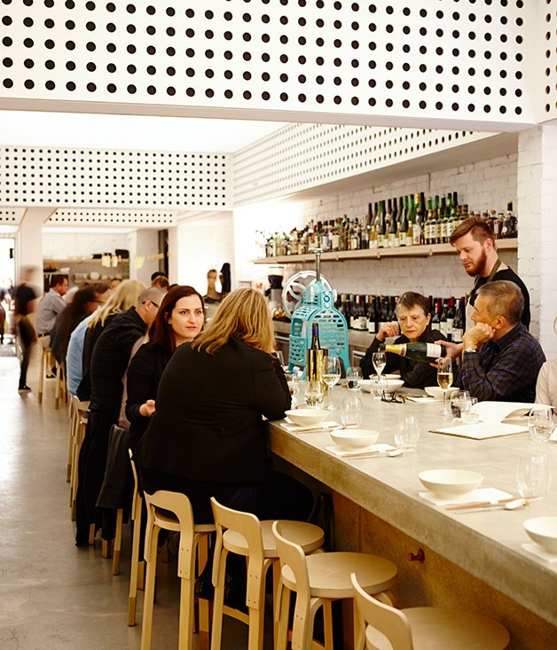 """**** The washed-out white-painted brick, birch ply and pale concrete tones at [Cho Cho San](http://gourmettraveller.com.au/restaurants/restaurant-reviews/2014/7/cho-cho-san-sydney-review/ """"Cho Cho San, Sydney review"""")."""
