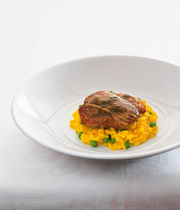 Veal saltimbocca with risotto Milanese