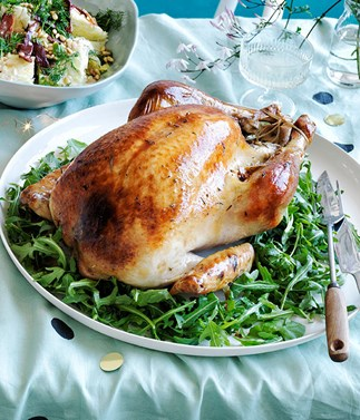 Roast turkey with pistachio and rosemary stuffing, and fig and mint salad