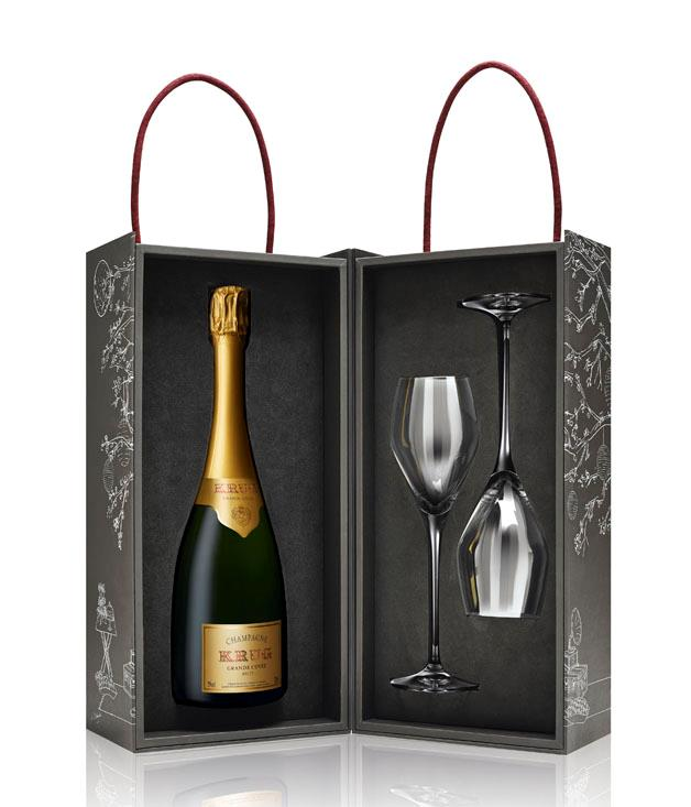 **Krug sharing set** The end of the year is for popping corks. This gift set from [Krug](https://www.krug.com/en) comes replete with a bottle of the house's Grande Cuvée and two custom-made Riedel glasses for toasting the festive season. _$399_