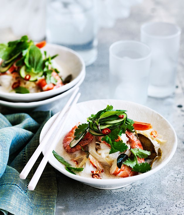 **Coconut-poached prawns, rice noodles and Asian herb salad**