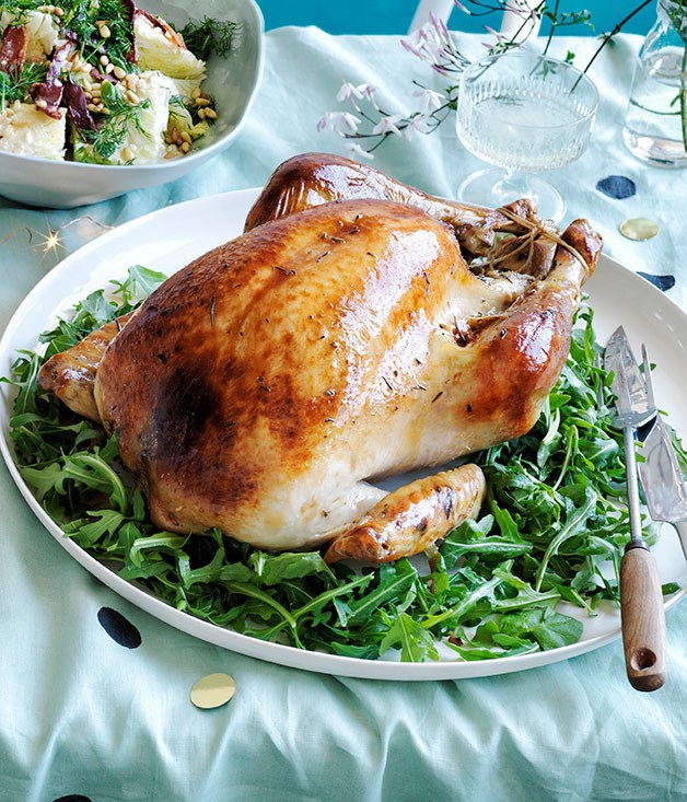 **Roast turkey with pistachio and rosemary stuffing, and fig and mint salad**