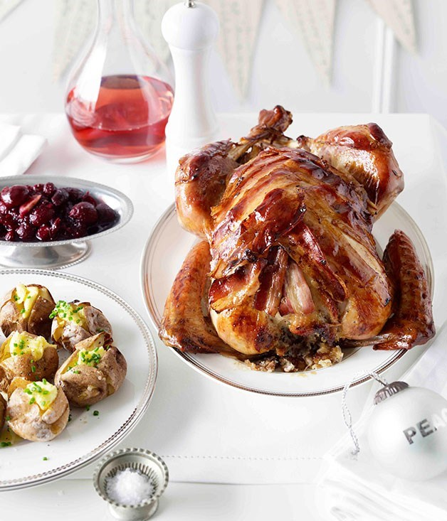 **Turkey with chestnut, rosemary and apple stuffing and cherry-cranberry preserve**