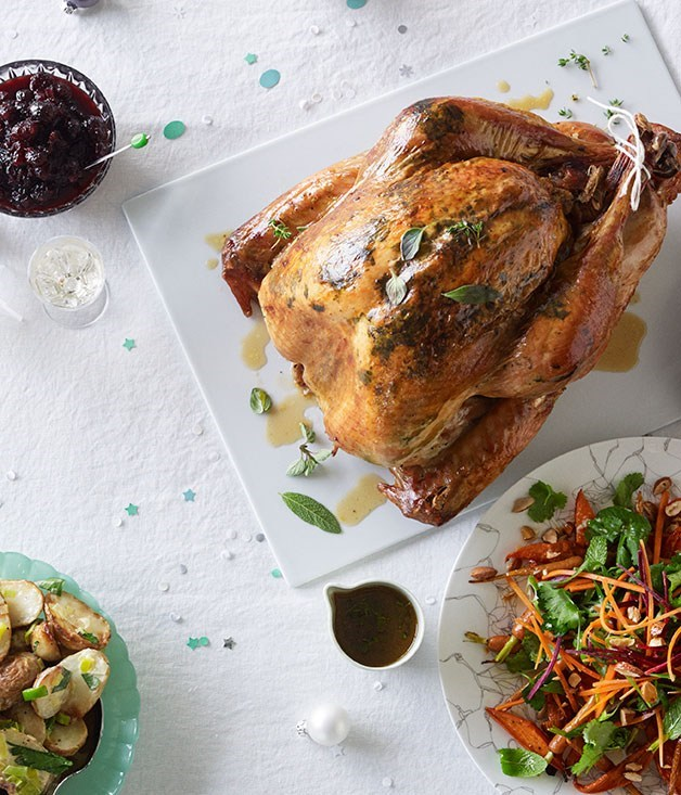 **Dry-brined turkey with cranberry relish and verjuice pan juices**