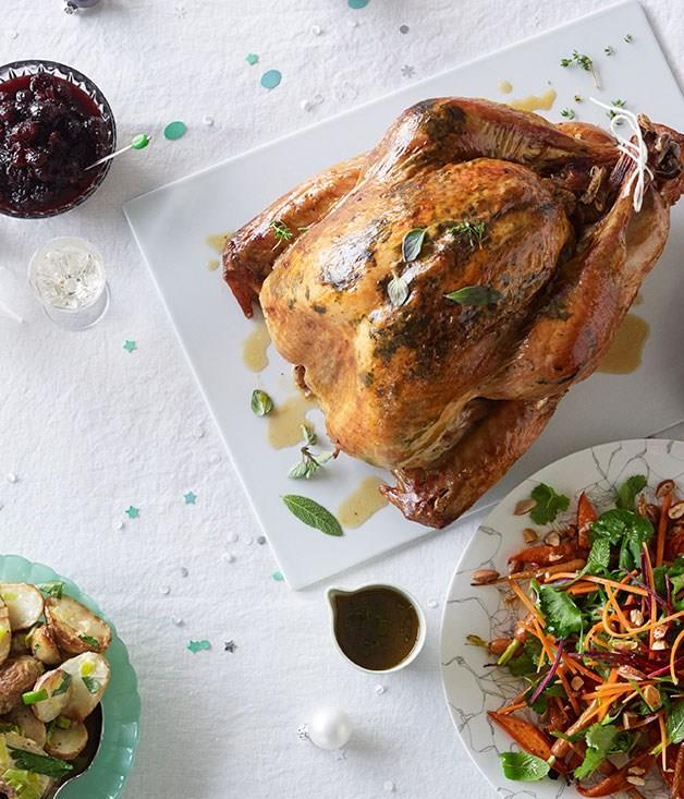 "[**Dry-brined turkey with cranberry relish and verjuice pan juices**](https://www.gourmettraveller.com.au/recipes/browse-all/dry-brined-turkey-with-cranberry-relish-and-verjuice-pan-juices-11847|target=""_blank"")"
