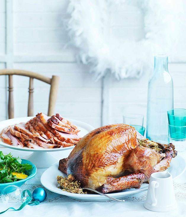 "[**Roast turkey with dried fig and cracked wheat stuffing with Pedro Ximénez sauce**](https://www.gourmettraveller.com.au/recipes/chefs-recipes/roast-turkey-with-dried-fig-and-cracked-wheat-stuffing-with-pedro-ximenez-sauce-7495|target=""_blank"")"