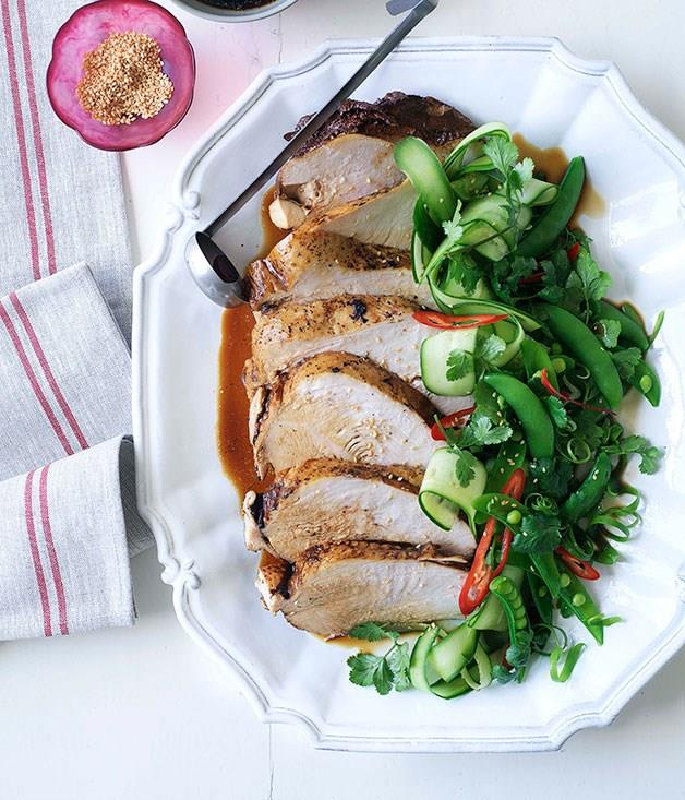 "[**Soy-poached turkey breast**](https://www.gourmettraveller.com.au/recipes/browse-all/soy-poached-turkey-breast-9890|target=""_blank"")"