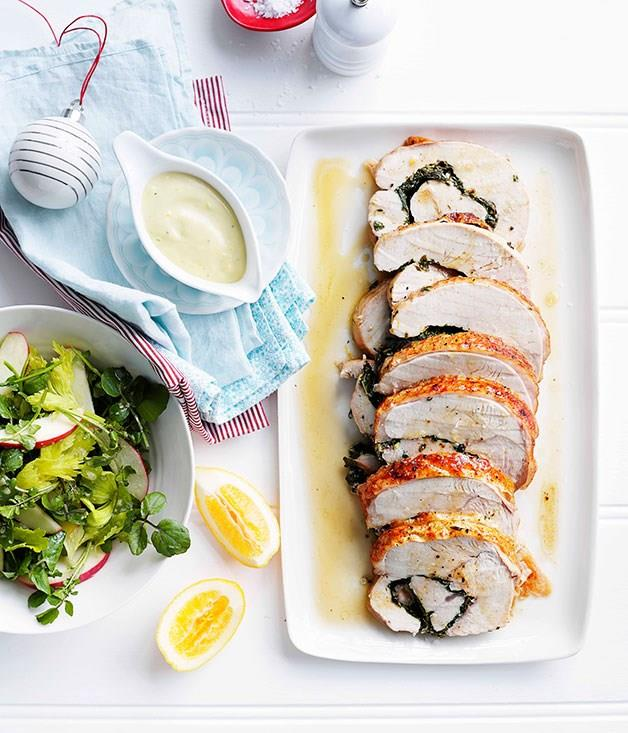 "[**Roast herbed turkey roll with Meyer lemon mayonnaise**](https://www.gourmettraveller.com.au/recipes/browse-all/roast-herbed-turkey-roll-with-meyer-lemon-mayonnaise-10321|target=""_blank"")"