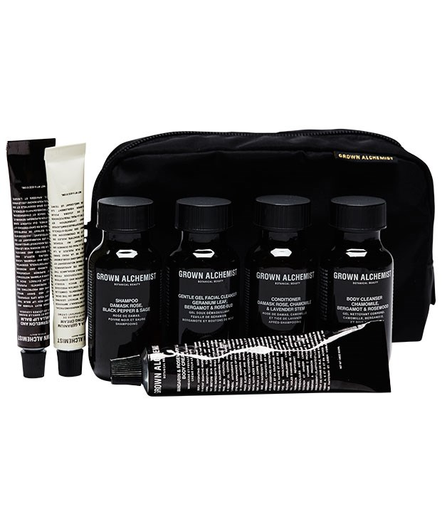 "**** The [Grown Alchemist](http://www.grown.com ""Grown"") Travel Kit, $69.95, is one good looking wet-pack. We'll take two."
