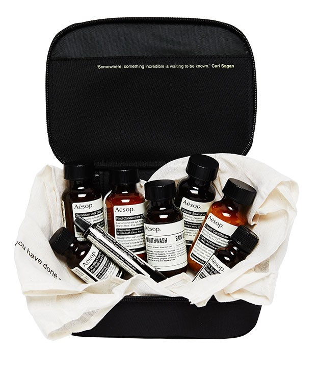 "**** [AESOP](http://www.aesop.com ""AESOP"") always delivers and this unisex parsley seed-based London travel kit, $75, is no exception. (We're especially keen on the refreshing mouthwash.)"