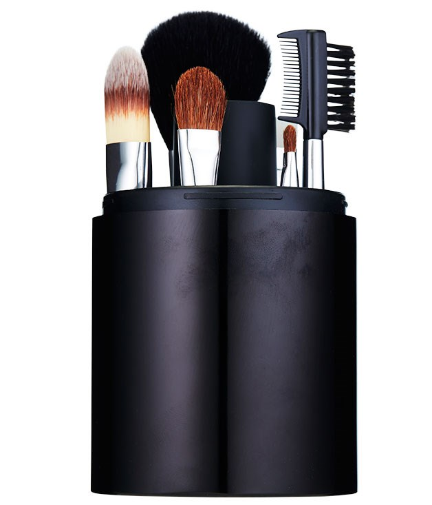"**** [Mecca Cosmetica](http://www.meccacosmetica.com.au ""Mecca Cosmetica"") Jetsetter Travel Brush Set, $130, keeps everything neat when you're on the road; it even comes with a handy brush cleaner."