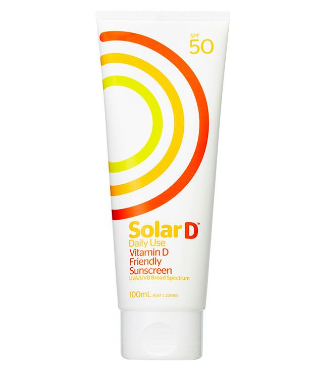 "**** [Solar D](http://www.ngcreative.com.au/clients/solard ""Solar D"") Vitamin D Friendly Sunscreen SPF50, $13.95 for 100ml, is an ingenious new Australian sunscreen that protects from the damaging UVA and UVB rays while permitting a percentage of vitamin D-forming wavelengths in."